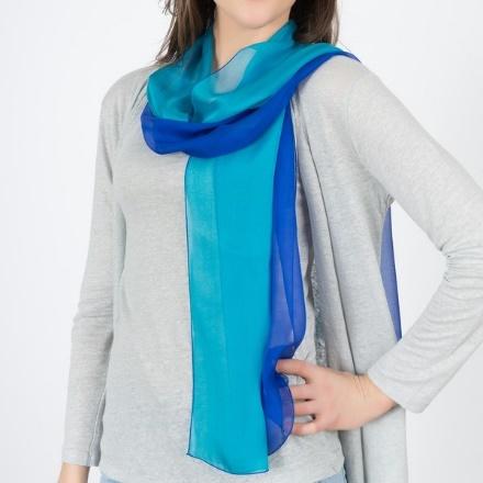 foulard en soie bicolore